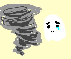 Sad ghost looks at hypnotic tornado