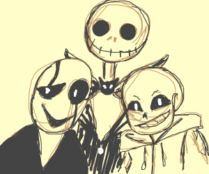 Jack Skellington with Sans and Gaster