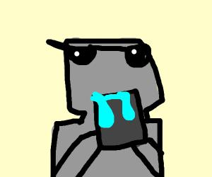 Robocop eating a Bucket