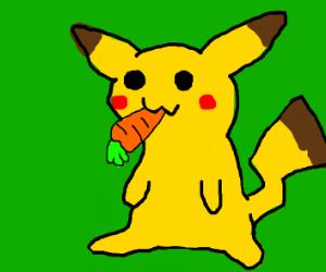 a pikachu eatting a carrot