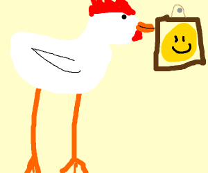 Tall chicken looks at a picture