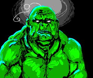 green wrinkly man w single strand of hair