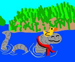 Loch Ness Scarf Monster with duck on head