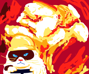 grumpy cat in front of an explosion