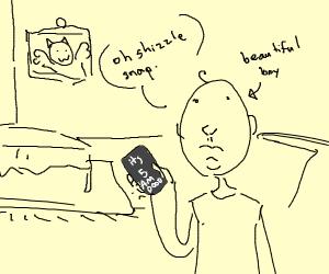 beautiful boy's phone tells him its 5AM