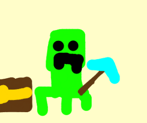 Creeper found a diamond pickaxe
