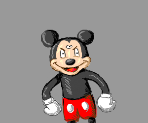 Evil 3 eyed mickey mouse/ dead mouse