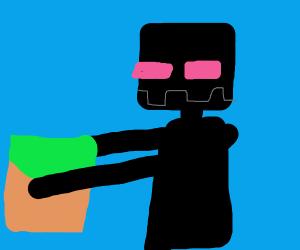 enderman holding grass block