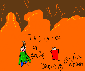 Baldi gets killed by volcanoes