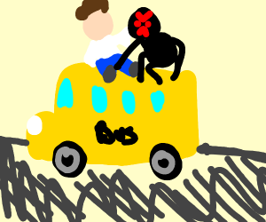 Elvis killed by spider on top of moving bus