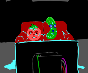 tomato and cumuber watches tv really high