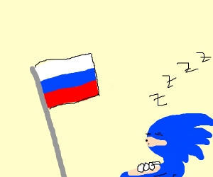 Sleeping sonic and russian flag