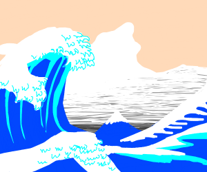 Big wave at a sideways angle