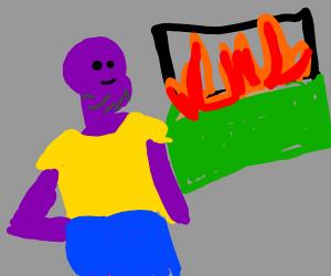 Thanos starts a trash fire.