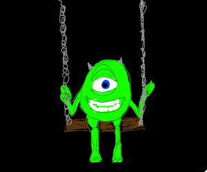one eye monster on swing