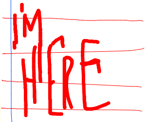 "line paper with words ""I'M HERE"" in blood"