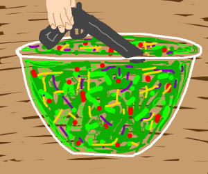 man puts gun in salad