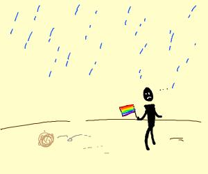 sad gay pride rally