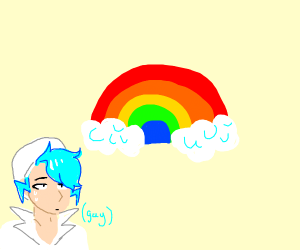 sinful gay man looks at rainbow