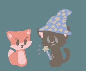 Cat wizard casts spell on fox