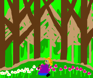 Girl in forest drawing on daisies to pink