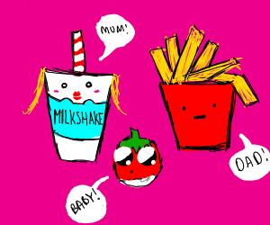 momy milkshake dady fri baby tomato