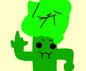 Broccoli giving the finger.