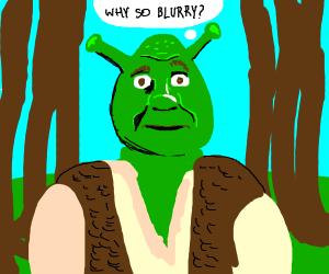 Shrek is confused by his blurry surroundings