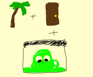 Palm tree, door and a container Of GreenSlime