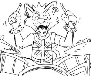 Punk animal drummer