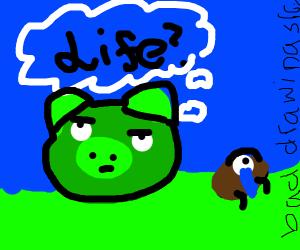 ANGRY PIG DEBATING LIFE WITH SAD BUG NEAR