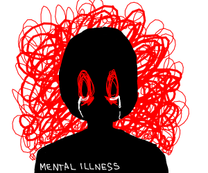 silhouette of head with mental illness writte