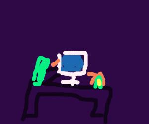 Computer in a dark room