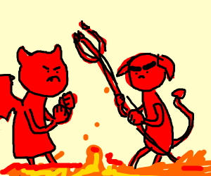 two devils about to fight