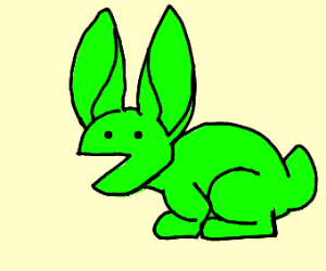 green bunny with a pacman face & small brain