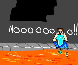 Steve shocked at lava burning his diamonds