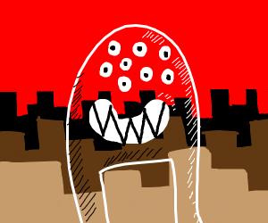 transparent, multi eyed+teeth monster
