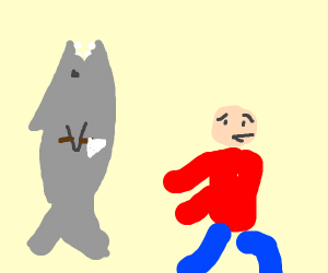 shark with knife chases Guy