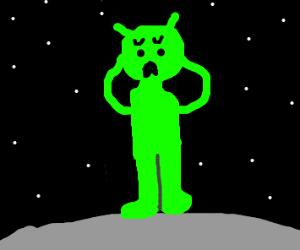 Alien man is in distress