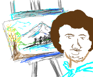 bob ross making art