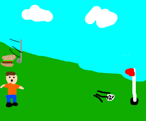 Playing golf.with a hamburger