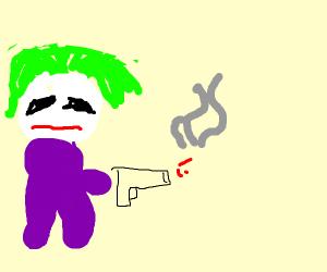 Joker from Persona firing a gun