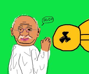 pre-atomic era Gandhi raises his hand