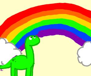 Dinosaur Looks At A Rainbow