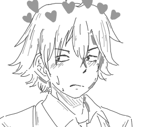anime dude with a heart over his head