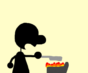 Mr. Game and Watch cooks food