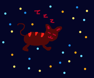 Sleeping Cat floats through space