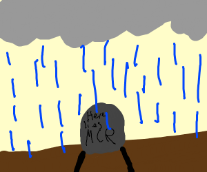 My Chemical Romance's grave in the rain