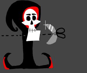 Grim Reaper cuts his head off