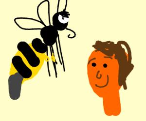 Angry bee glaring at a black-eyed orange man
